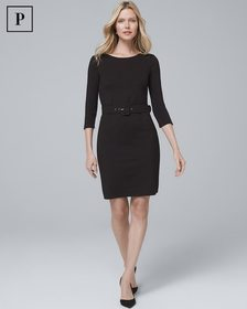 Petite Belted Black Knit Dress
