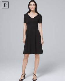 Petite Black Polished Knit Fit-and-Flare Dress