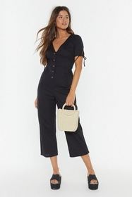 Nasty Gal Womens Black Button-Down to Earth Linen