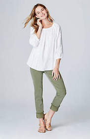Linen Embroidered-Vines Peasant Top