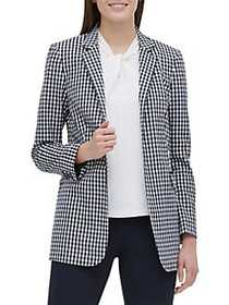 Tommy Hilfiger Gingham-Print Open Jacket MIDNIGHT