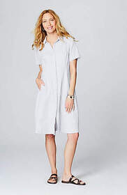Linen Button-Front Shirtdress