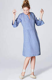 Linen Pleated 3/4-Sleeve Dress