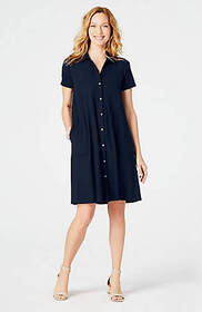 Pleated-Front Knit Shirtdress