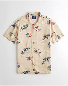 Hollister Short-Sleeve Floral Shirt, TAN FLORAL