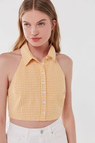 UO Prep Gingham Cropped Halter Top