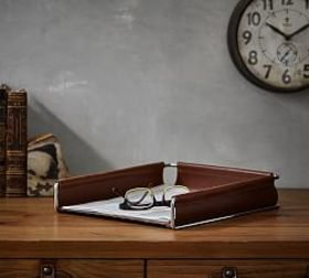 Pottery Barn Drake Leather Paper Tray