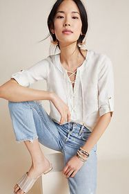 Anthropologie Marva Lace-Up Linen Blouse
