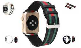 Striped Nylon Leather Watch Band Strap for Apple W