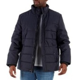 Mens Heavy Duty Puffer Jacket with Knitted Neck an