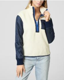 Juicy Couture JXJC Sherpa & Nylon Half Zip Pullove