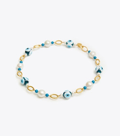 Tory Burch PEARL & EVIL EYE SHORT NECKLACE