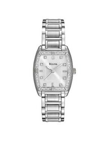 Ladies Diamond and Stainless Steel Tonneau watch