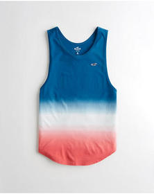 Hollister Ombré Curved Hem Tank, NAVY TO RED OMBRE