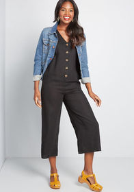 ModCloth Thoughtful Crop Cotton-Linen Jumpsuit in