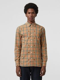 Burberry Equestrian Knight Check Cotton Shirt in C