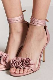 Forever21 Floral Ankle-Wrap High Heels