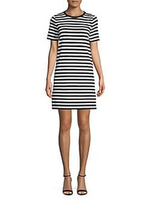 MICHAEL Michael Kors Striped T-Shirt Dress BLACK W
