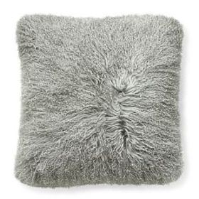 Mongolian Lambswool Pillow Cover, Silver Mink
