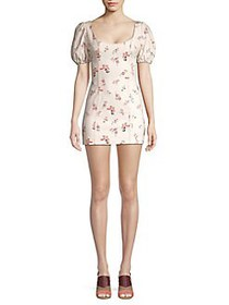 Finders Keepers Floral Puff-Sleeve Mini Dress NUDE