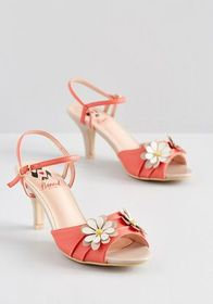 Banned Banned Daisy Lady Floral Heel CORAL/WHITE