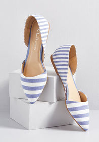 Chic Your Mind d'Orsay Flat Blue Stripe