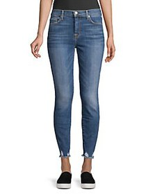 7 For All Mankind Distressed Hem Skinny Jeans BLUE