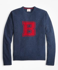 Brooks Brothers Donegal Wool Crewneck Letter Sweat