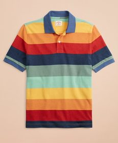 Brooks Brothers Gradient-Stripe Pique Polo Shirt