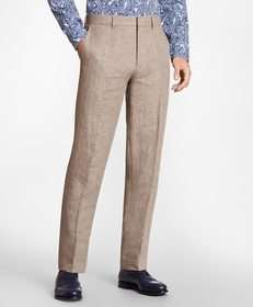 Brooks Brothers Regent Fit Brown Linen Trousers