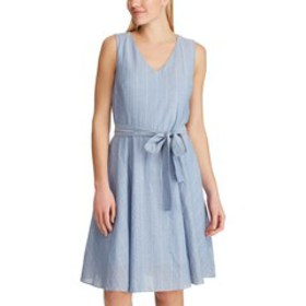 Womens Chaps Striped Chambray Fit & Flare Dress