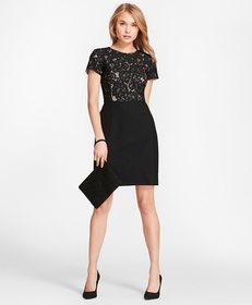 Brooks Brothers Floral Lace And Wool Twill Sheath