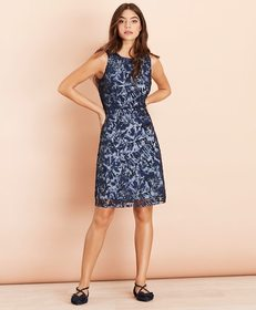 Brooks Brothers Sequined Floral Lace Dress