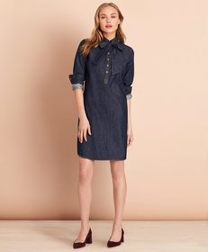 Brooks Brothers Cotton Denim Shift Dress