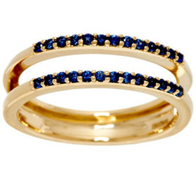 """As Is"" Blue Sapphire Ring Guard, 14K Gold .20 ctt"