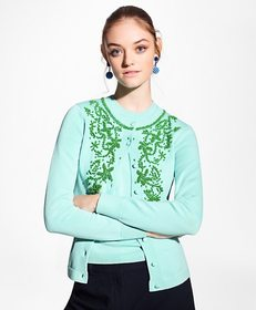 Brooks Brothers Floral-Beaded Cotton Cardigan