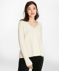 Brooks Brothers Cable-Knit Cashmere Swing Sweater