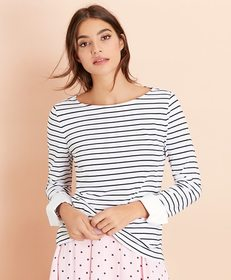 Brooks Brothers Striped Jersey Contrast-Cuff Top