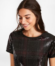 Brooks Brothers Sequined Plaid Top