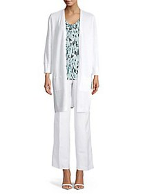 Kasper Knit Open Front Long Cardigan LILY WHITE