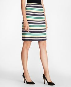 Brooks Brothers Striped Cotton Tweed A-Line Skirt