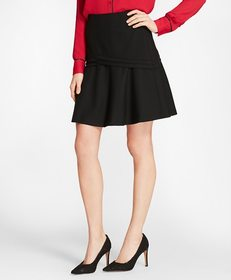 Brooks Brothers Stretch Wool-Blend Flounce Skirt