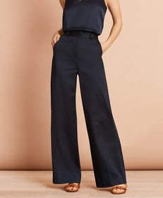 Brooks Brothers Cotton Sateen Wide-Leg Pants