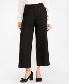 Brooks Brothers Stretch Wool Wide-Leg Cropped Pant