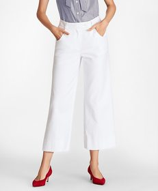 Brooks Brothers Stretch Cotton Wide-Leg Cropped Pa