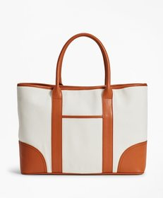 Brooks Brothers Leather-Trimmed Canvas Tote Bag