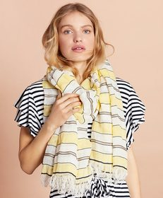 Brooks Brothers Striped Linen-Cotton Gauze Scarf