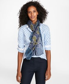 Brooks Brothers Abstract-Print Modal-Silk Oblong S