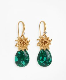 Brooks Brothers Floral-Accent Stone Drop Earrings