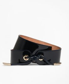 Brooks Brothers Patent Leather Tied-Waist Belt